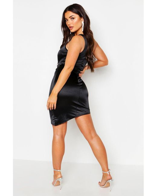 12804ff94e67 ... Boohoo - Black Satin One Shoulder Tie Waist Mini Dress - Lyst