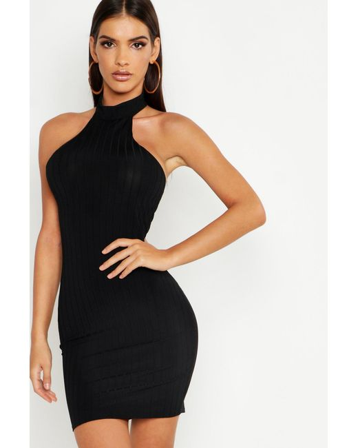 95a66fd808c4 Boohoo - Black Ribbed Racer Neck Bodycon Mini Dress - Lyst ...