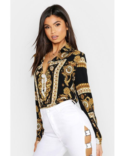 Boohoo Multicolor Satin Chain Print Shirt