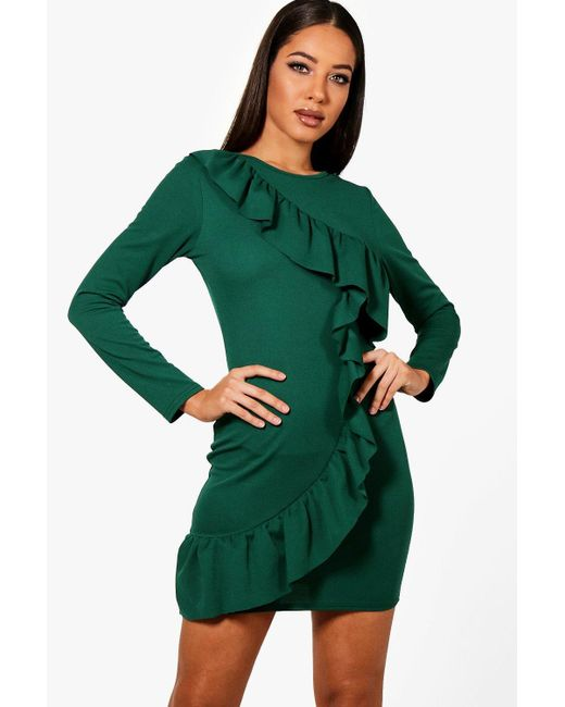 Boohoo - Green Ruffle Front Long Sleeved Bodycon Dress - Lyst