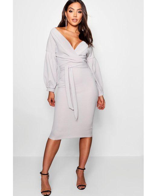 dabdc59abe53 Boohoo - Gray Off The Shoulder Wrap Midi Bodycon Dress - Lyst ...