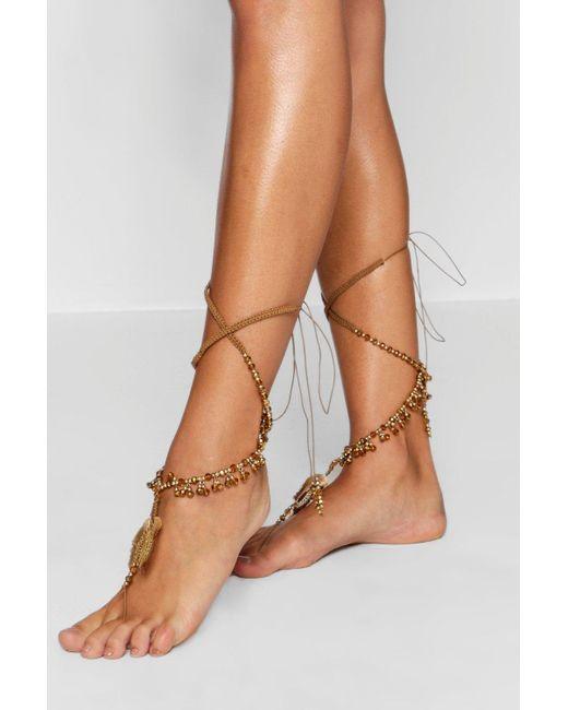 Boohoo - Metallic Bead And Tassel Statement Leg Tie Pair - Lyst