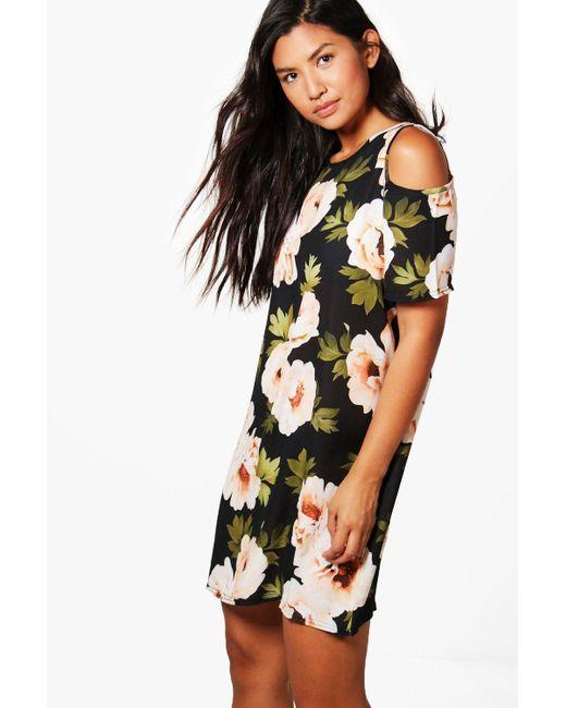 Boohoo | Black Tilly Cold Shoulder Floral Shift Dress | Lyst