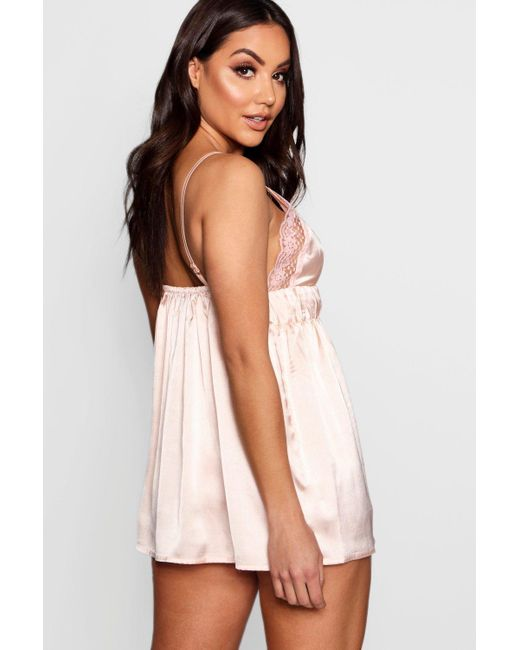 3ebb0e29639b0 ... Boohoo - Pink Ruched Lace & Satin Babydoll - Lyst