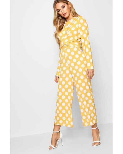 bfed4c4b7d0f Boohoo - Yellow Twist Front Culotte Jumpsuit - Lyst ...
