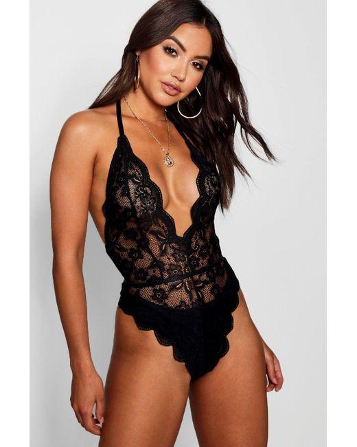 8cb49ecd6886d Boohoo - Black Lace Bodysuit - Lyst ...