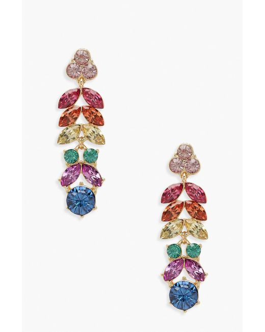 Boohoo - Multicolor Rainbow Gem Statement Earrings - Lyst