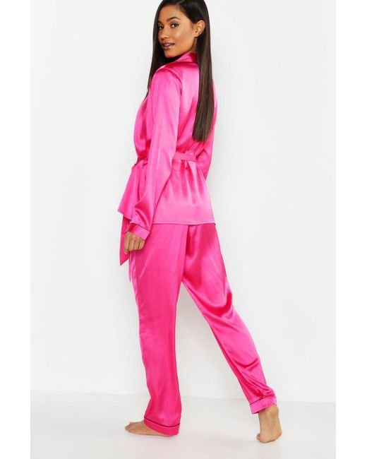 86f4b7a5679 ... Boohoo - Pink Wrap Front Belted Pj Set - Lyst ...