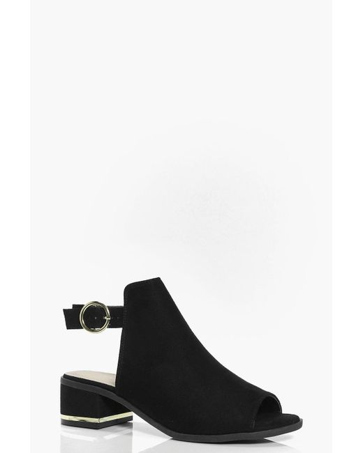 Boohoo - Black Metallic Trim Peeptoe Shoe Boots - Lyst