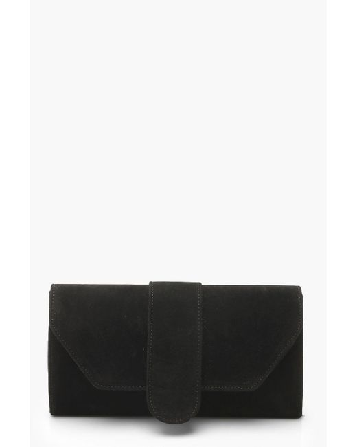 Boohoo - Black Suedette Front Tab Clutch Bag - Lyst