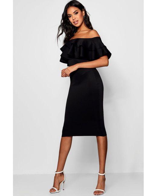 068214ea330 Boohoo Black Bardot Layered Frill Detail Midi Dress Lyst