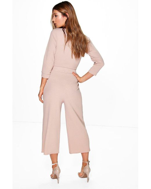 0ad850de9ee ... Boohoo - Pink Roll Sleeve Relaxed Culotte Jumpsuit - Lyst ...