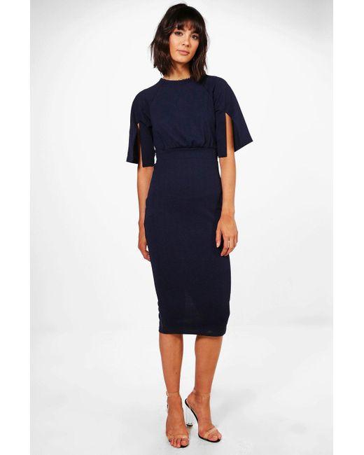 Boohoo - Blue Split Sleeve Detail Wiggle Midi Dress - Lyst