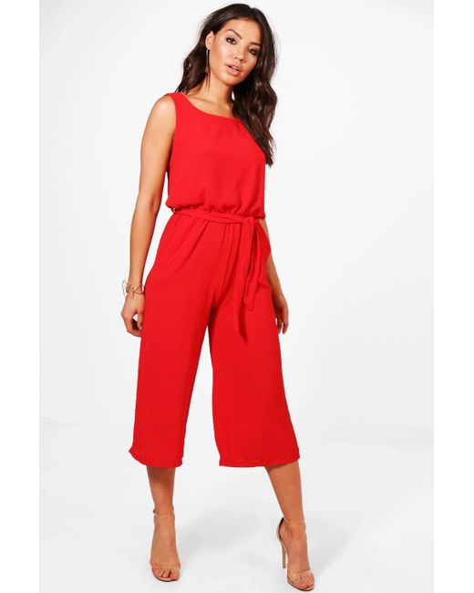 208a308ede Boohoo - Red Culotte Jumpsuit - Lyst ...