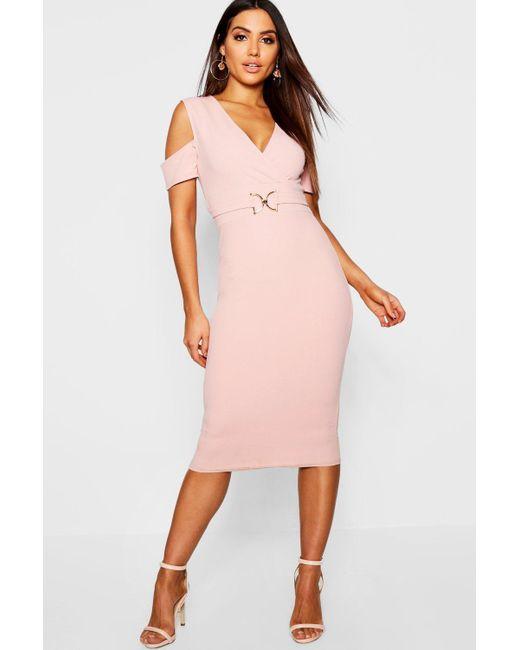 801c7d6f2bee Boohoo - Pink Wrap Detail Buckle Midi Dress - Lyst ...