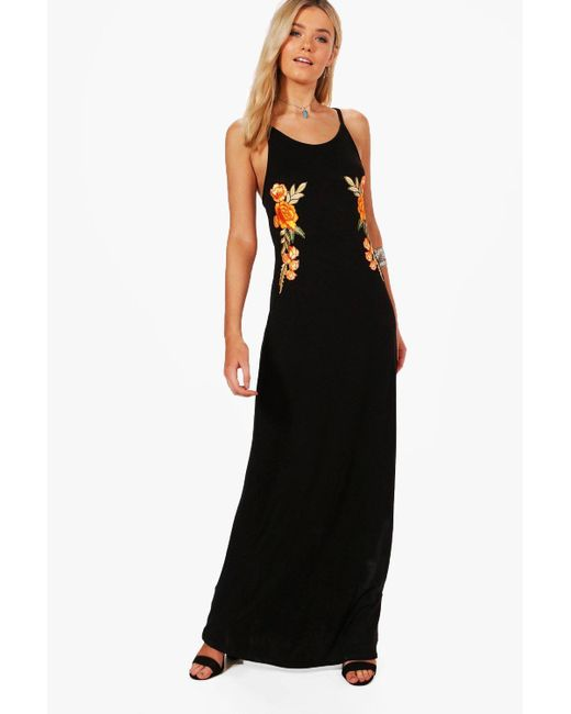 Boohoo | Black Louise Halterneck Embroidered Maxi Dress | Lyst