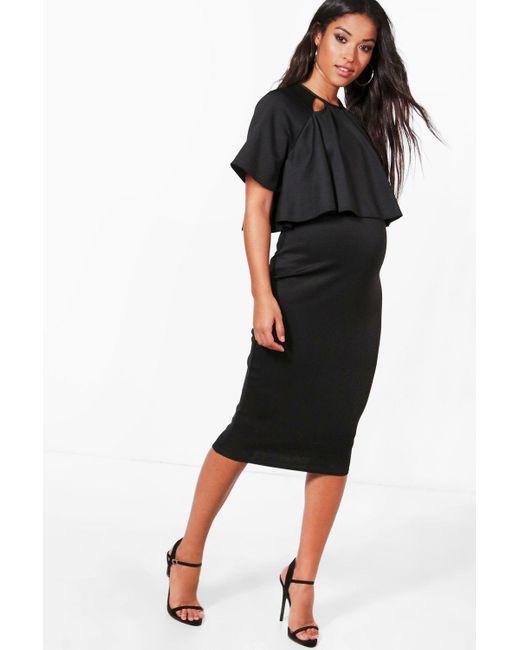Boohoo - Black Maternity Double Layer Wiggle Dress - Lyst