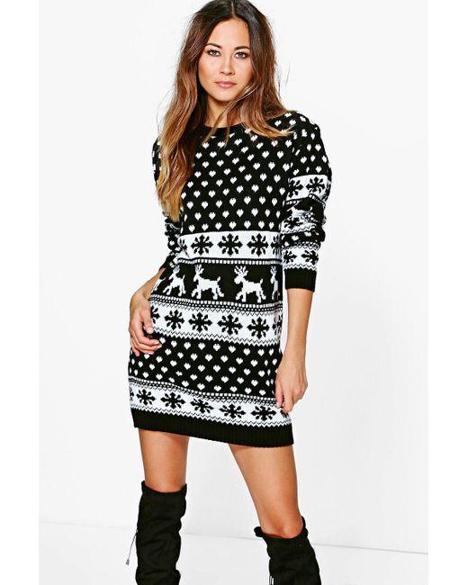 Boohoo - Black Reindeers & Snowflake Christmas Jumper Dress ... - Lyst - Boohoo Reindeers & Snowflake Christmas Jumper Dress In Black