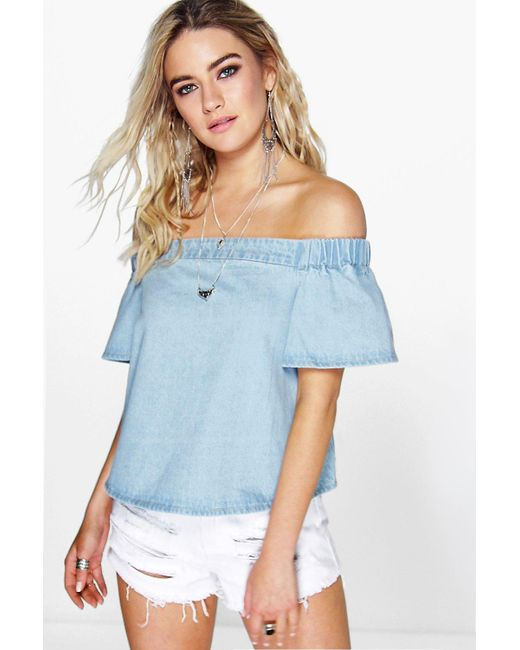 Boohoo | Blue Maisie Off The Shoulder Denim Top | Lyst