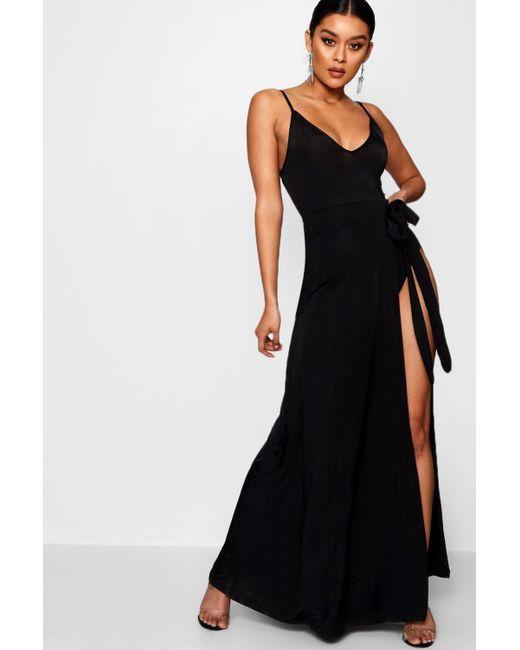 68f989dcb752 Boohoo - Black Slinky Strappy Side Tie Maxi Dress - Lyst ...