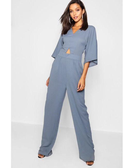 df836ca78dd Boohoo - Blue Tall Kimono Sleeve Culotte Jumpsuit - Lyst ...