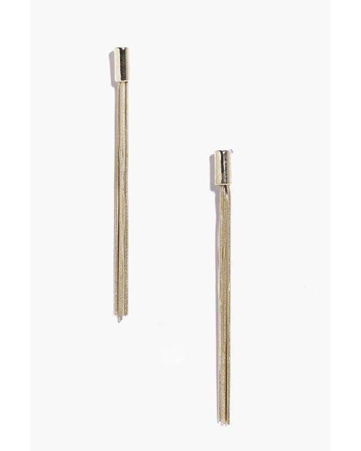Boohoo - Metallic Modern Metal Tassel Earrings - Lyst