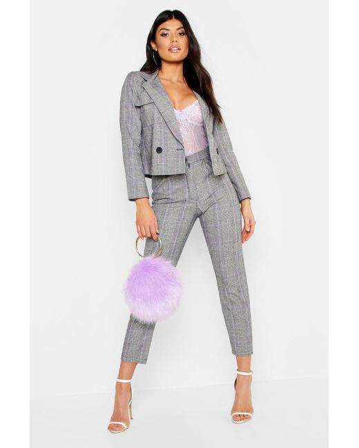 aed2098dc8c1 Boohoo - Purple Check Box Pleat Tapered Pants - Lyst ...