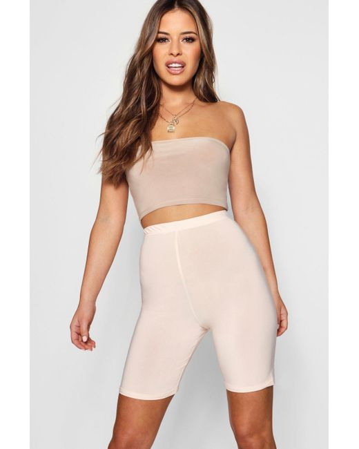 Boohoo - Natural Petite Slinky High Waisted Cycling Short - Lyst