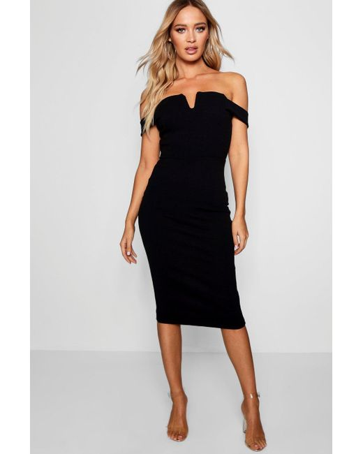 b066f43aaab3 Boohoo - Black Bardot Midi Bodycon Dress - Lyst ...