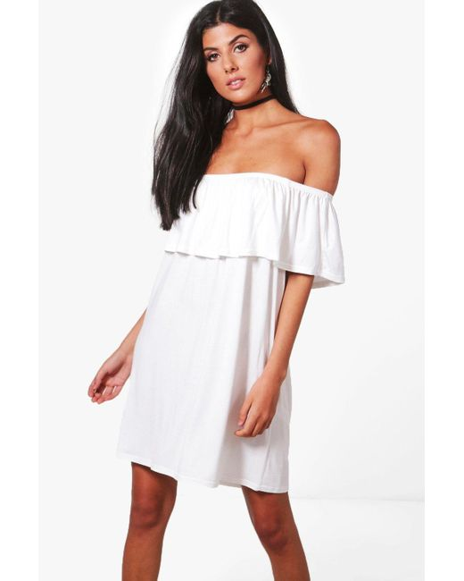 Boohoo | White Pixie Off The Shoulder Swing Dress | Lyst