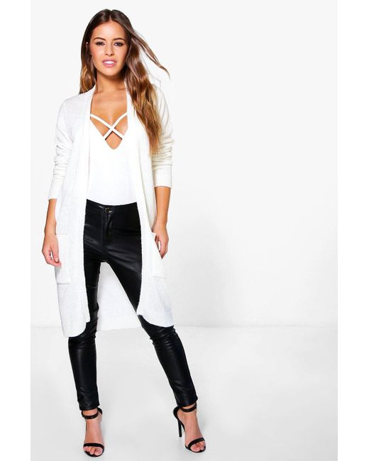 Boohoo - White Petite Midi Length Cardigan With Pockets - Lyst