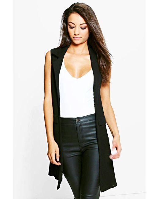 Boohoo - Black Tall Textured Sleeveless Duster Coat - Lyst