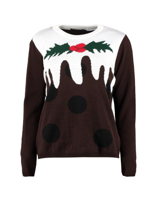 b8b4e43f2228e ... Boohoo - Brown Petite Christmas Pudding Jumper - Lyst ...