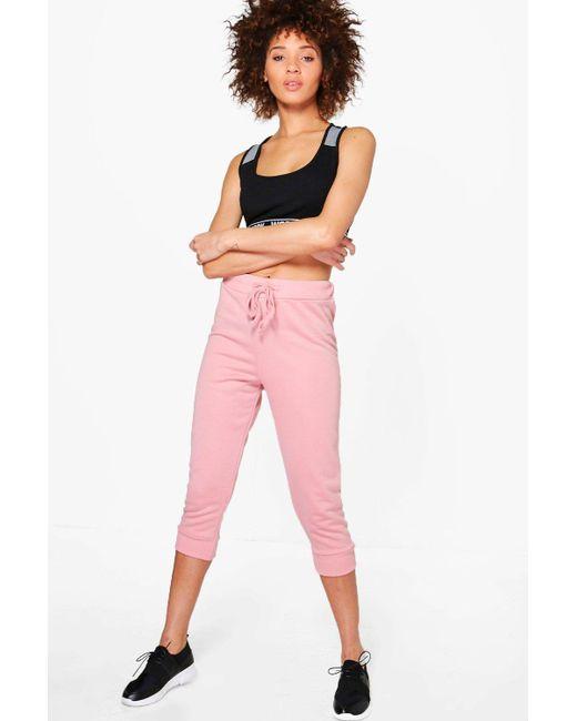 baca5889f86e Boohoo - Pink Rose Fit Crop Running Joggers - Lyst ...