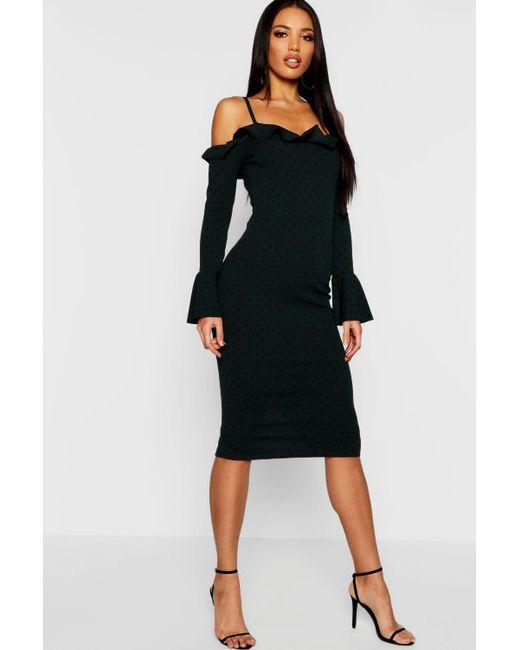 b23b9e7acab8f Boohoo - Black Polka Dot Cold Shoulder Frill Midi Dress - Lyst ...