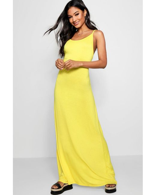 Boohoo - Yellow Strappy Low Back Maxi Dress - Lyst