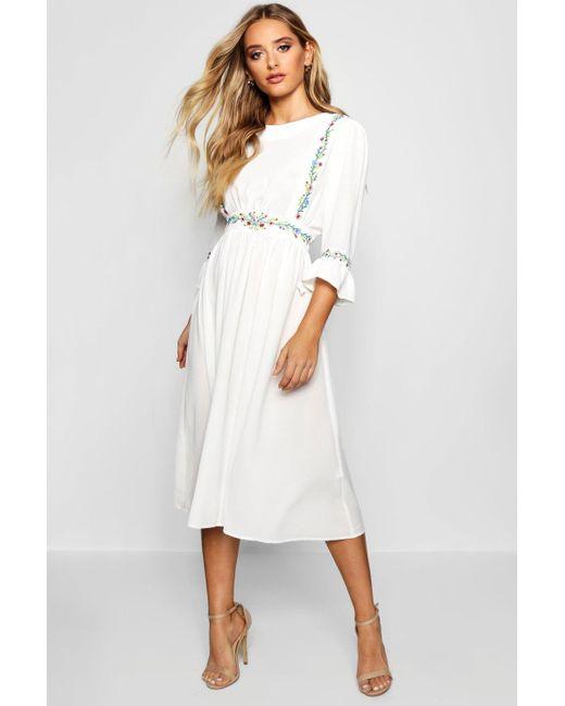 Boohoo - White Embroidered Ruffle Sleeve Midi Dress - Lyst