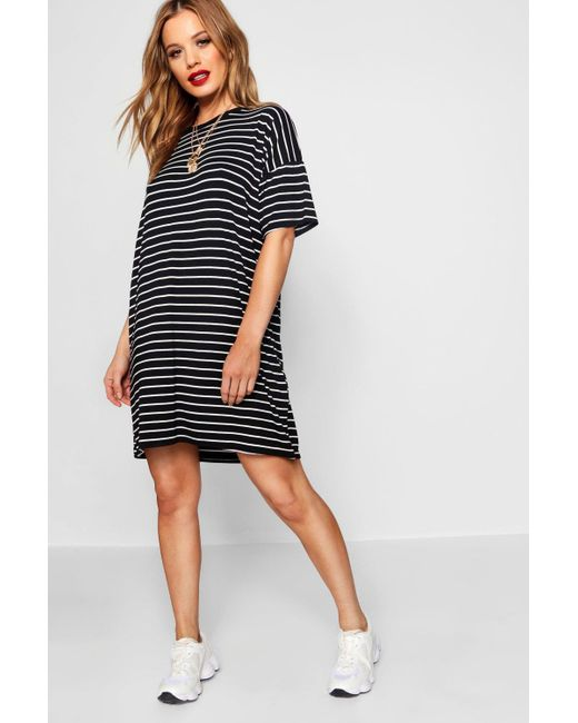 d68880fd16 Boohoo - Black Petite Stripe T-shirt Dress - Lyst ...