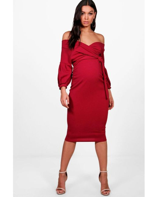 Boohoo - Red Maternity Off The Shoulder Wrap Midi Dress - Lyst ... 898d0bc39