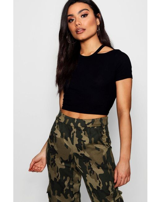 Boohoo - Black Rib Cut Away Neck Crop T-shirt - Lyst