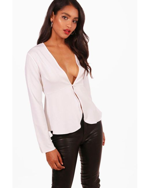 Boohoo - White Chrissy Plunge Button Front Peplum Blouse - Lyst