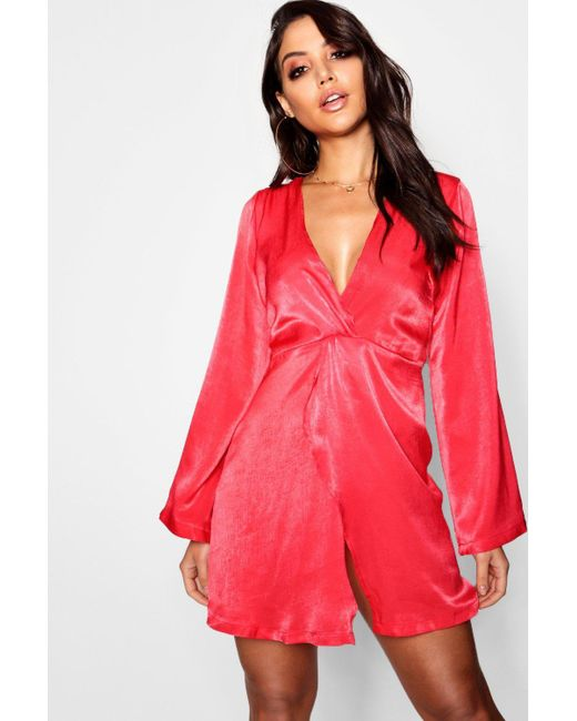 Boohoo - Red Satin Plunge Drape Front Dress - Lyst ... db32f5faa