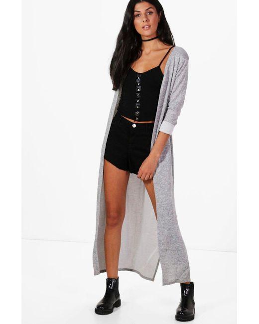 Boohoo | Gray Karen Maxi Side Split Cardigan | Lyst