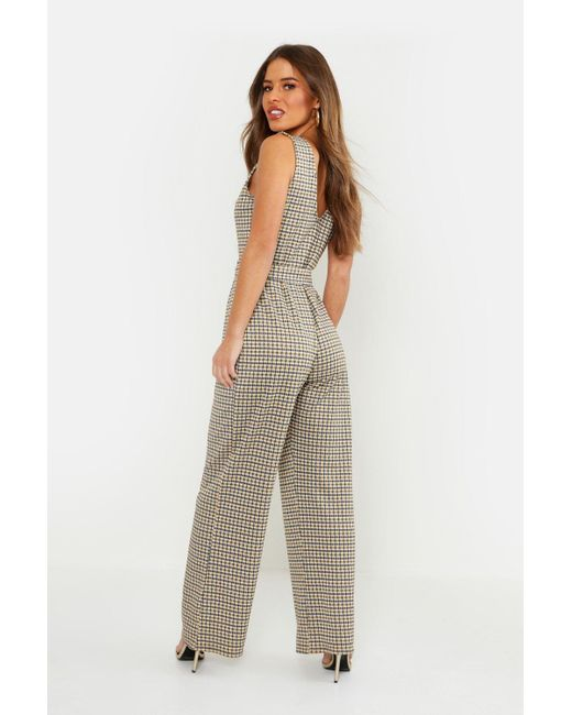 a4cdc84342 ... Boohoo - Multicolor Petite Check Belted Wide Leg Jumpsuit - Lyst ...