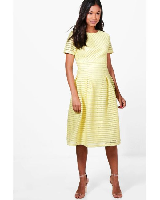 297fffa3302a Boohoo - Yellow Boutique Frill Skirted Prom Midi Dress - Lyst ...