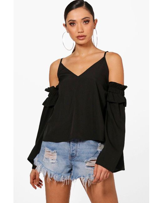 Boohoo - Black Cold Shoulder Woven Top - Lyst