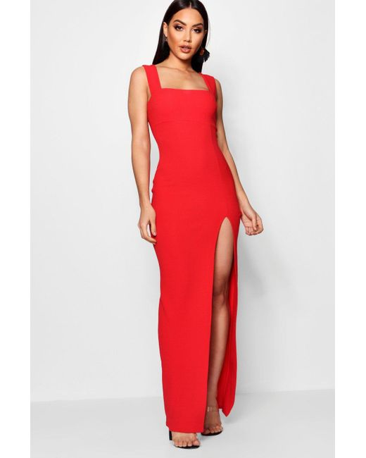 Lyst Boohoo Square Neck Tie Side Split Maxi Dress In Red