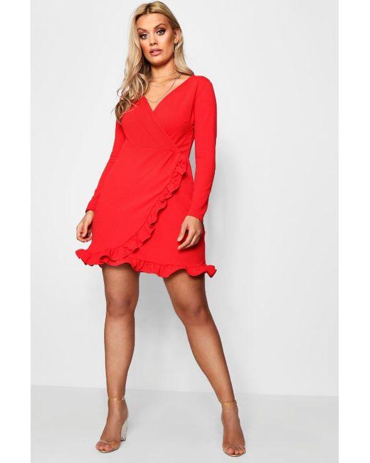 Boohoo - Red Plus Long Sleeve Ruffle Wrap Dress - Lyst
