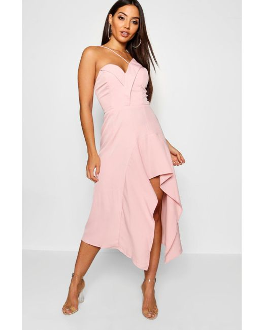 2861cd3c5de0 Boohoo - Pink Asymmetric Ruffle Hem Midi Dress - Lyst ...