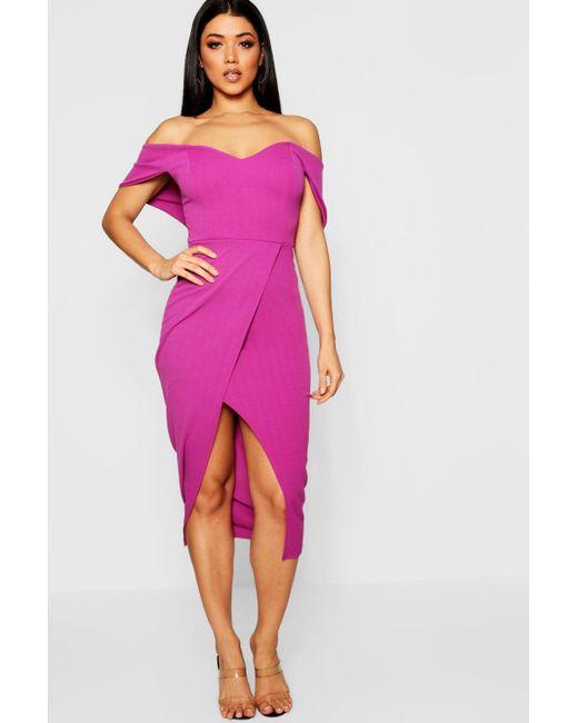 8395d6c6ad48 Boohoo - Purple Off Shoulder Wrap Skirt Midi Dress - Lyst ...